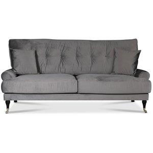 Adena 2-sits soffa - Silvergrå sammet -2-sits soffor - Soffor
