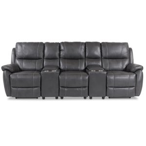 Enjoy Hollywood Biosoffa - 3-sits recliner (el) i grått konstskinn -Biosoffor & Reclinersoffor - Soffor