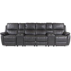 Enjoy Hollywood Biosoffa - 4-sits recliner (el) i grått konstskinn -Biosoffor & Reclinersoffor - Soffor