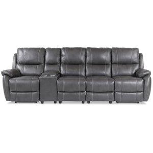 Enjoy Hollywood reclinersoffa - 4-sits (el) i grått konstskinn (modell H) -Biosoffor & Reclinersoffor - Soffor