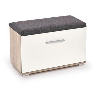 Abdel skoskåp med sits - Sonoma ek/vit -Skoskåp - Hallmöbler