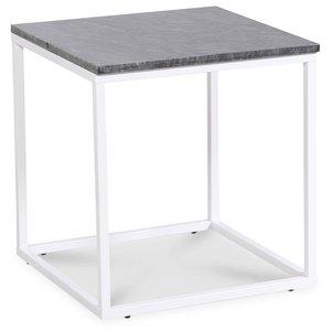 Accent lampbord 50x50 cm - Grå marmor / Vit -Marmorbord - Bord