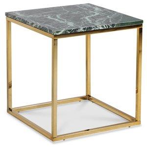 Accent soffbord 50 - Grön marmor / Blank mässing -Marmorbord - Bord