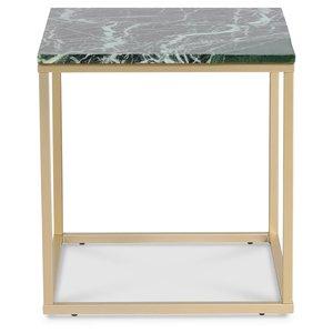 Accent soffbord 50 - Grön marmor / Matt mässing -Marmorbord - Bord