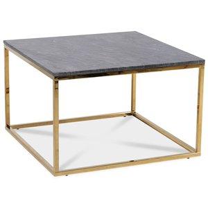 Accent soffbord 75 - Grå marmor / Blank mässing -Marmorbord - Bord