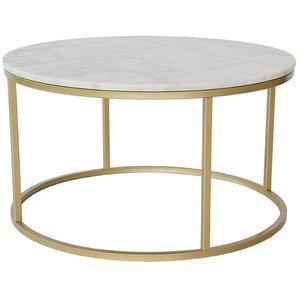Accent soffbord rund 85 - Vit marmor / Mässingsfärgad -Marmorbord - Bord