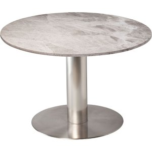 Next 105 runt matbord - Borstad stål / marmor (Beige) -Matbord - Bord