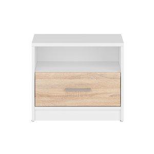 Norbo sängbord - Vit/ek -Sängbord - Sovrumsmöbler