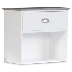 Sängbord Hugo vägghängt med 1 låda - Vit/Cement -Sängbord - Sovrumsmöbler