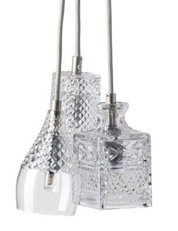 3 Taklampor Kristall Henley