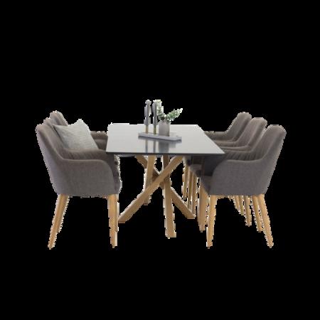 Bild på Pernilla Bord -  MDF + Ek Legs  + Catrin stol (6-pack) - Homeroom
