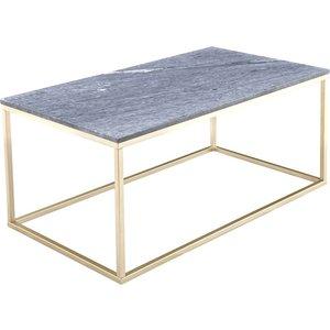 Accent soffbord 110 - Grå marmor / Mässingsfärgat underrede -Marmorbord - Bord