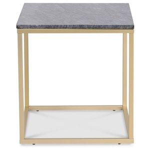 Accent soffbord 50 - Grå marmor / Matt mässing -Marmorbord - Bord