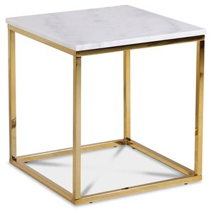 Accent soffbord 50 - Vit marmor / Blank mässing -Marmorbord - Bord