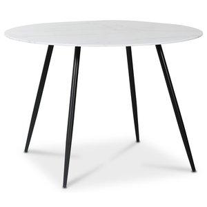 Art runt matbord 110 cm - Marmorerat glas / Svart -Matbord - Bord