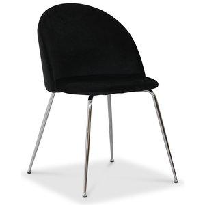 Art velvet stol - Svart / Krom -Matstolar & Köksstolar - Stolar