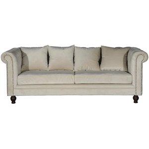 Chesterfield 3-sits soffa Churchill - Beige Sammet -Chesterfieldsoffor - Soffor
