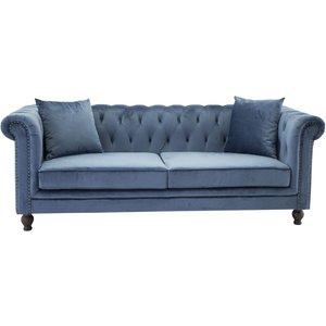Chesterfield 3-sits soffa Churchill - Blå Sammet -Chesterfieldsoffor - Soffor