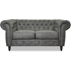 Ashford 2-sits chesterfield - Antracit ecoläder -2-sits soffor - Soffor