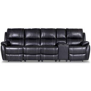 Enjoy Chicago reclinersoffa - 4-sits (el) i svart konstläder (modell H) -Biosoffor & Reclinersoffor - Soffor